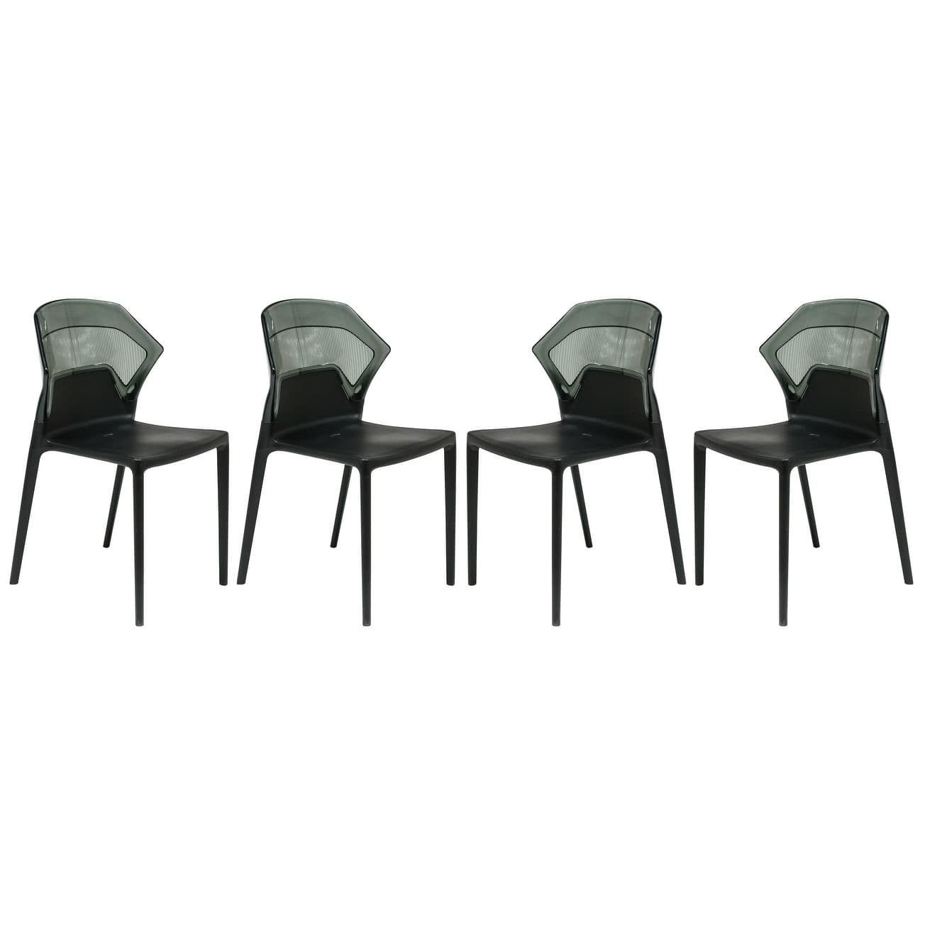 LeisureMod Walton 2 tone Black Dining Chairs Set of 4