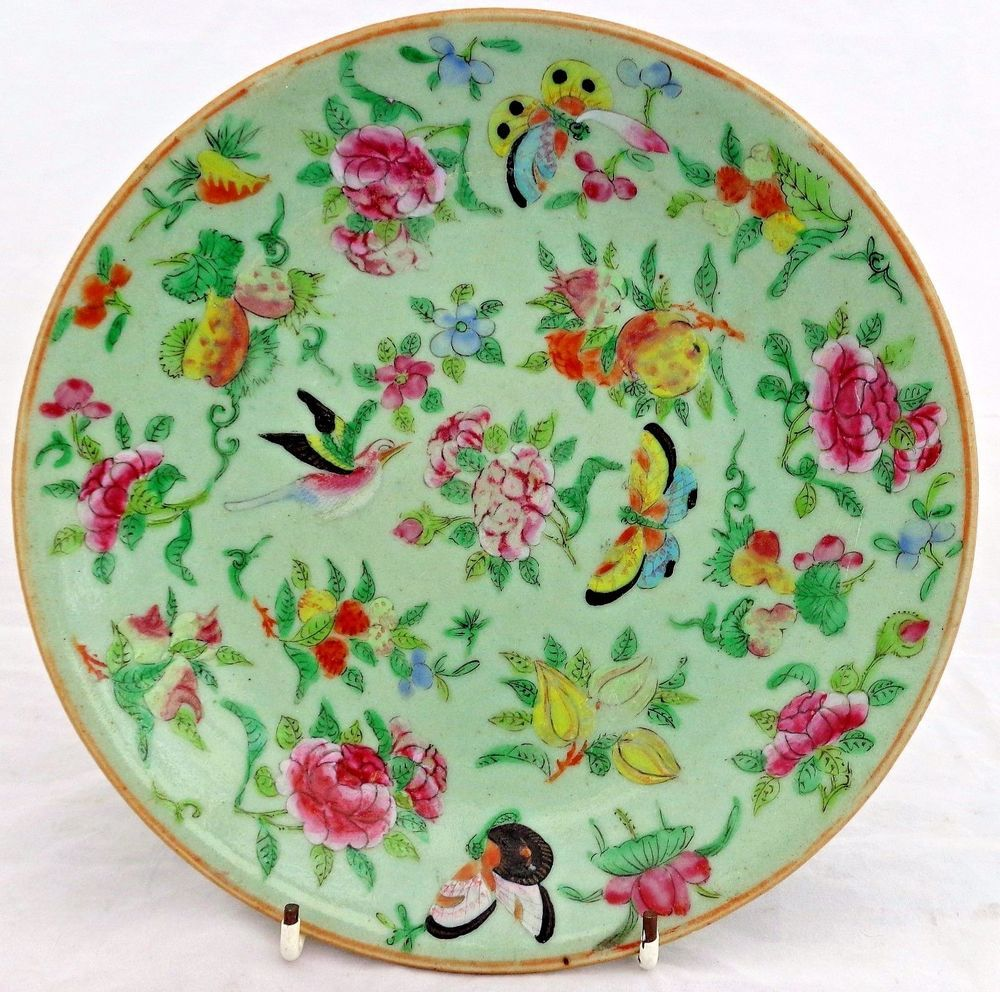 Details about Antique Chinese Canton Porcelain Plate Green ...