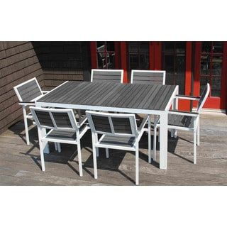 7 piece winston grey and white outdoor dining set free shipping
