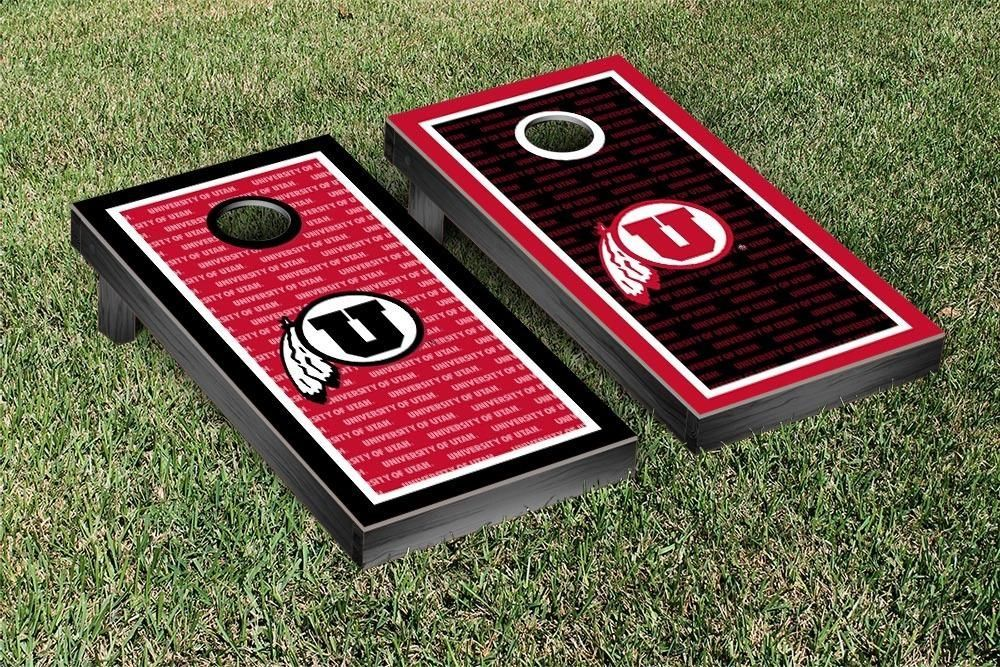 Utah Utes Repeat Logo Wallpaper Cornhole Set