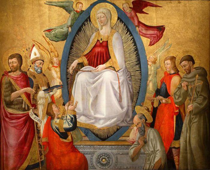 Neri di Bicci -  Madonna della cintola con i Santi Giovanni Battista, Tommaso e Bartolomeo - 1470 - 1475 - Philadelphia Museum of Art