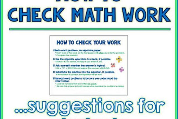 How to Check Your Math Work: Suggestions for Students (Middle School ...