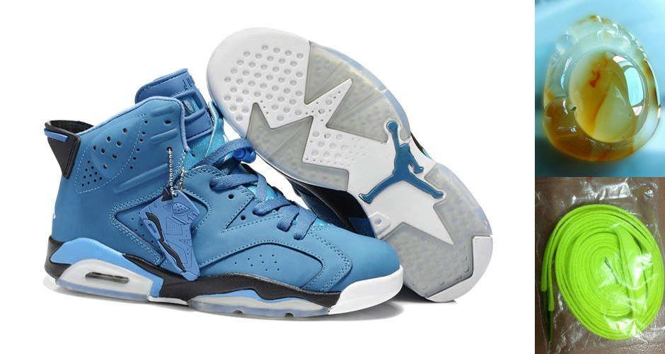 online store a9cac c5091 Air Jordan 6 Retro Chlorine Blue Black White Chalcedony Pendant Volt Lace  Gifts