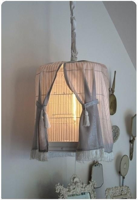 25. DIY Birdcage Lamp with Curtains