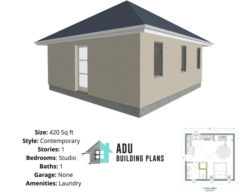 420 Square Foot Studio House Design Plans For Sale Pdf Etsy Guest House Plans Architecture Plan House Plans For Sale
