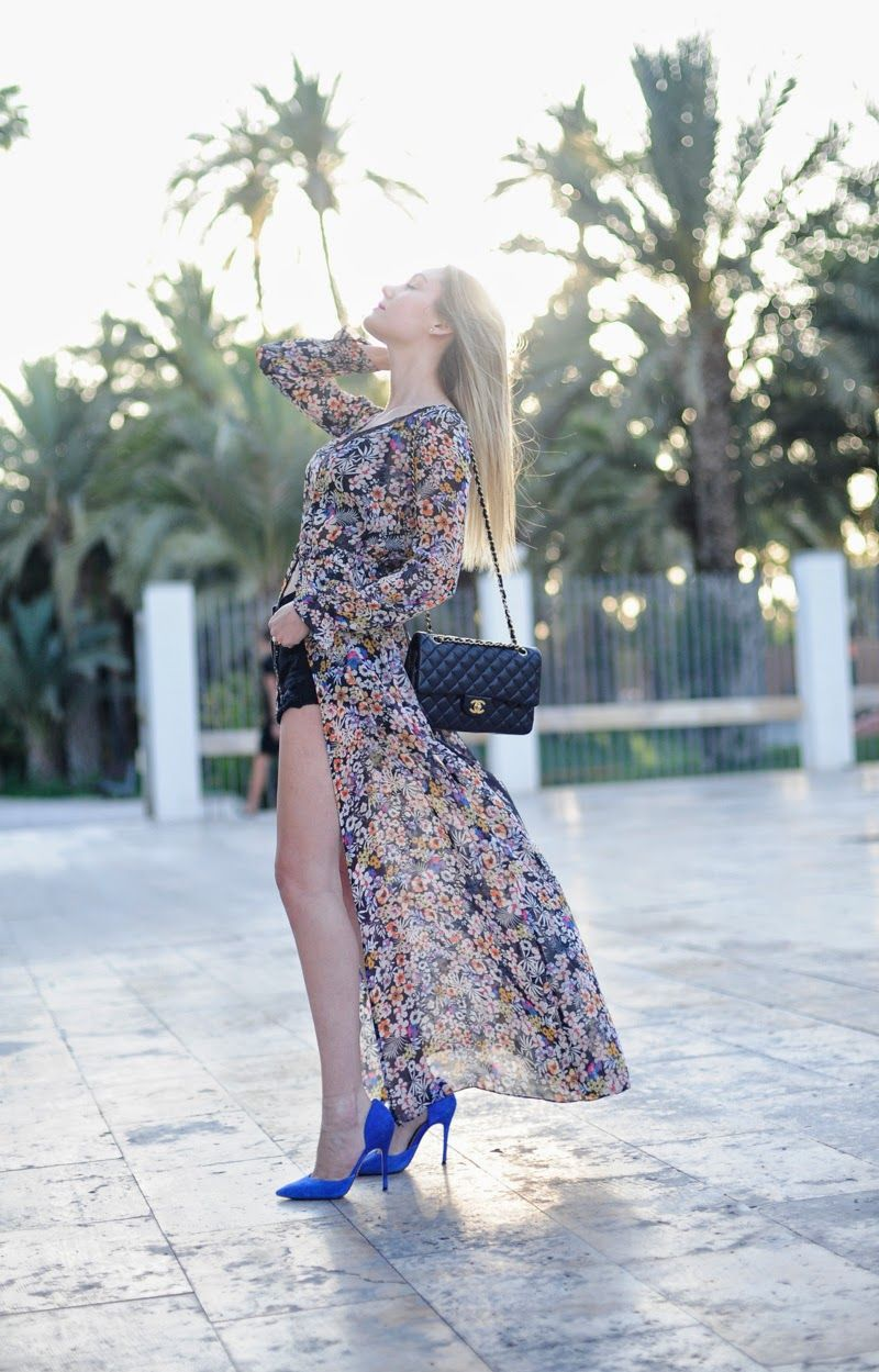 Gorgeous way to style a maxi dressopen with black shorts