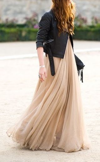 One of my fav style inspiration pictures over the last few years: Edgy moto jacket and a floaty maxi dress.