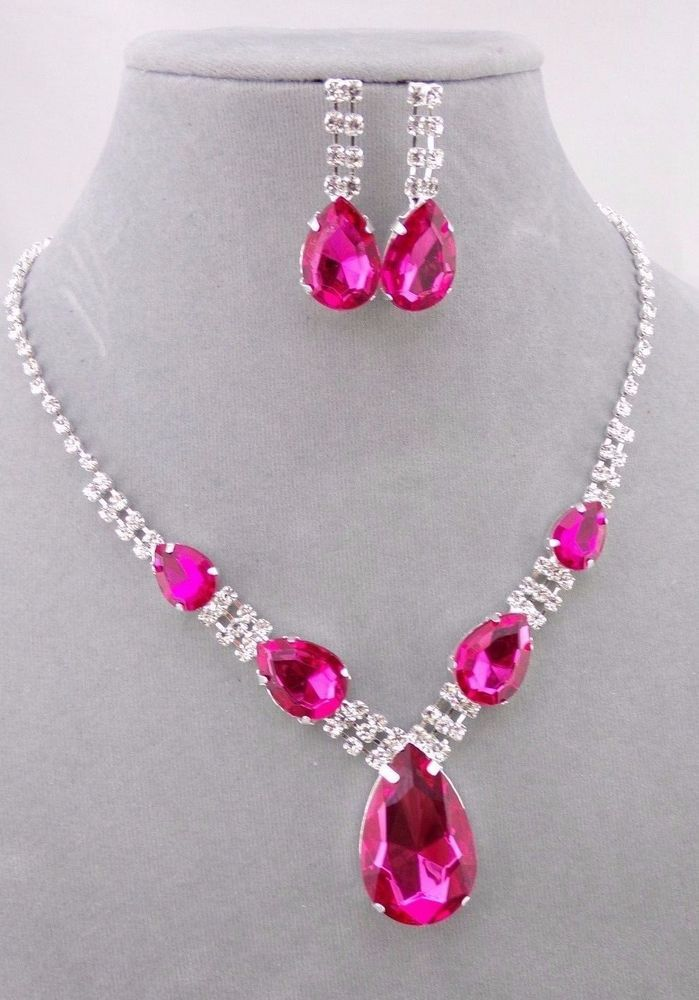 f313f2aa81e4 Silver with Hot Pink and Crystal Rhinestone Necklace Set Fashion Jewelry NEW   Ice