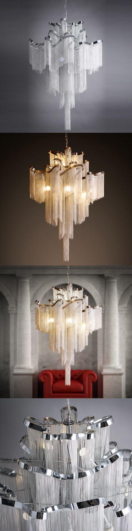 stream drop light for living room aluminum tassel chandelier