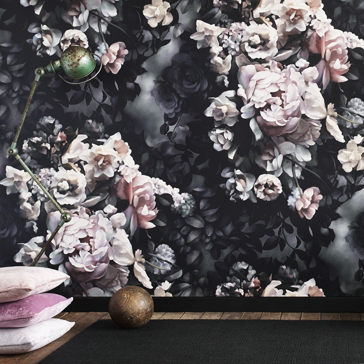 Black floral print wallpaper dark floral wallpaper by ellie cashman - Ellie Cashman Design Still Life With Shadows Gray Wallpaper