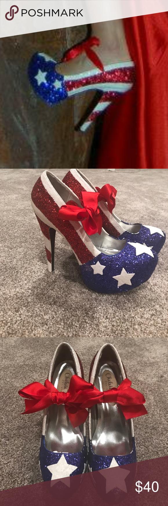 ADORABLE Sequined American Flag Heels Beautiful handmade American