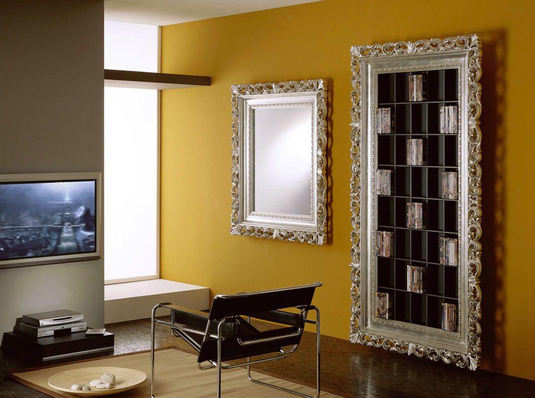 Mobili Argento ~ Porta dvd cornice barocco e specchiera barocca argento foglia dvd
