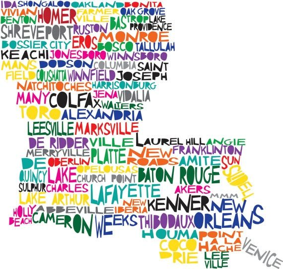 Here's A Cool Map Of Louisiana Where The City Names Fill
