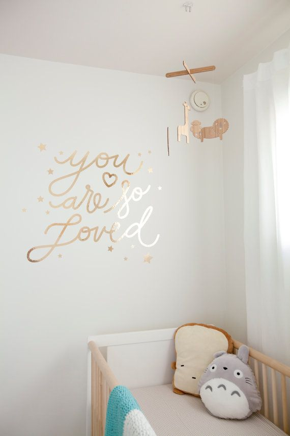 gold chrome you are so loved decal handletter script stars nursery
