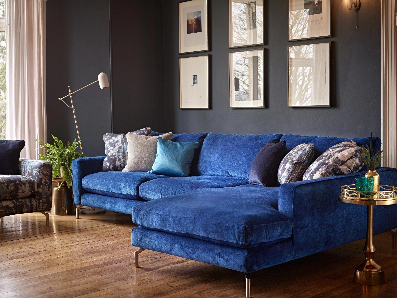 Blue Velvet Chaise Sofa   Velvet sofa living room, Living ...