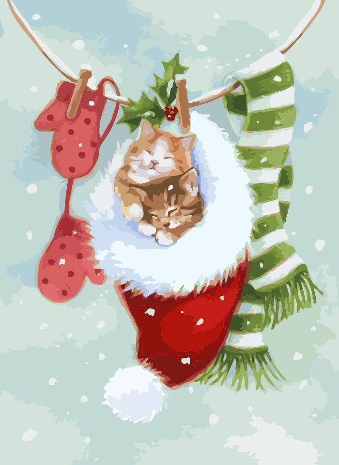 Картина по номерам Спящие котики, артикул KHO2495, размер ...