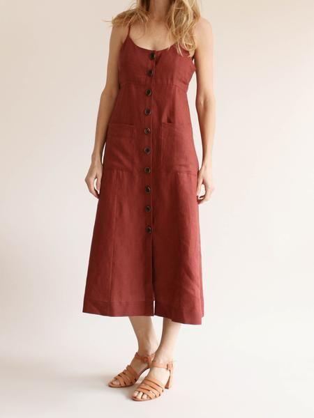 9effb06170 Sea NY - Button Down Linen Dress - Rust