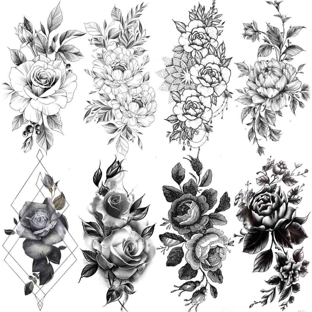Realistic Black Rose Flower Temporary Tattoos Fake Waterproof Tatoo Body Art Arm Leg Floral Peony Bloosom Tattoo Stickers Makeup Temporary Tattoos Aliexpre Unique Half Sleeve Tattoos Sleeve Tattoos For Women Rose