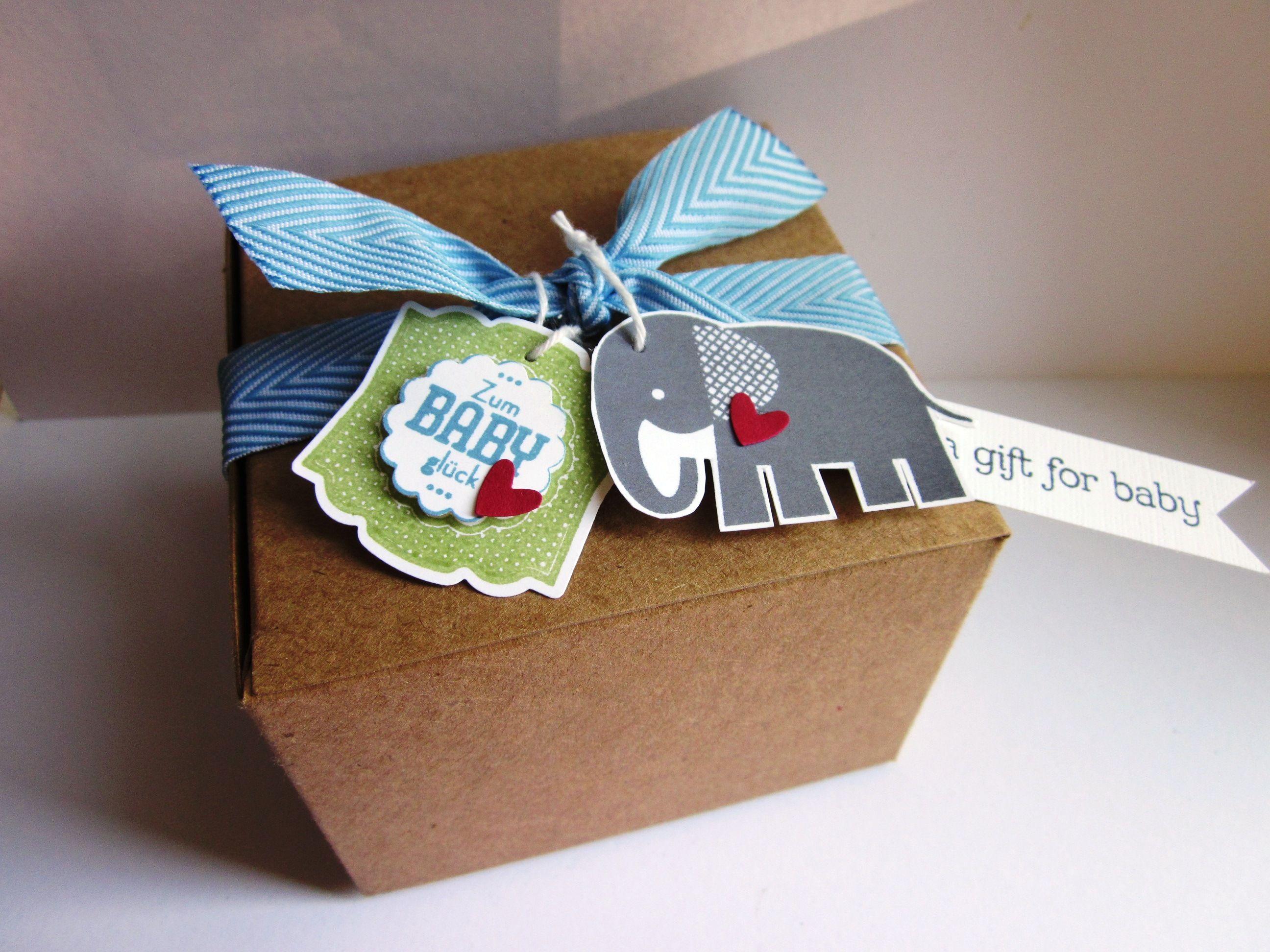 Stampin Up Verpackung für Babygeschenk Nett iketten Zoo Babies Zur GeburtSchachtelnGeschenke
