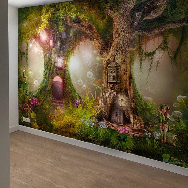 Wallpaper Magical Forest Nursery Magic Tree Fairy Tale Fairytale Forest Wall Mural Vinyl Self Adhesive In 2021 Forest Wall Mural Forest Mural Wall Murals