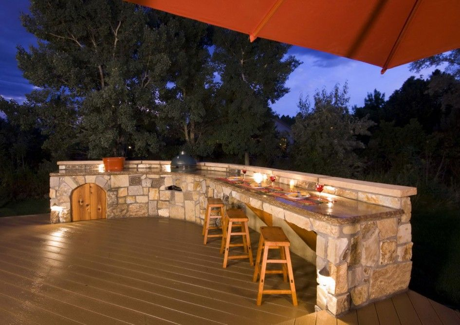incredible tuscan outdoor kitchen designs with polished stone