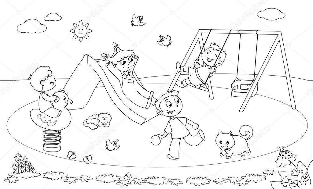 Quatro Criancas A Brincar No Parque Infantil Colorir Ilustracao