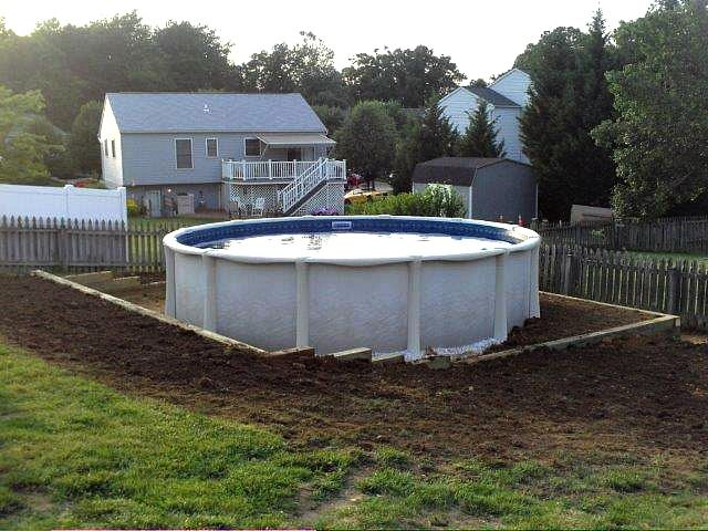 Level Ground For Pool Above Landscaping Sloped Backyard Yard