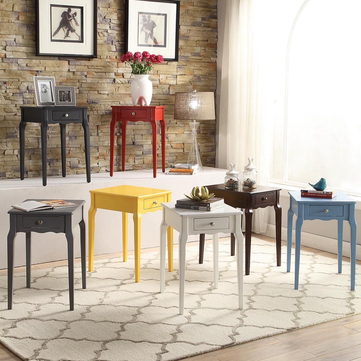 make your decor pop with this bold 1 drawer end table this