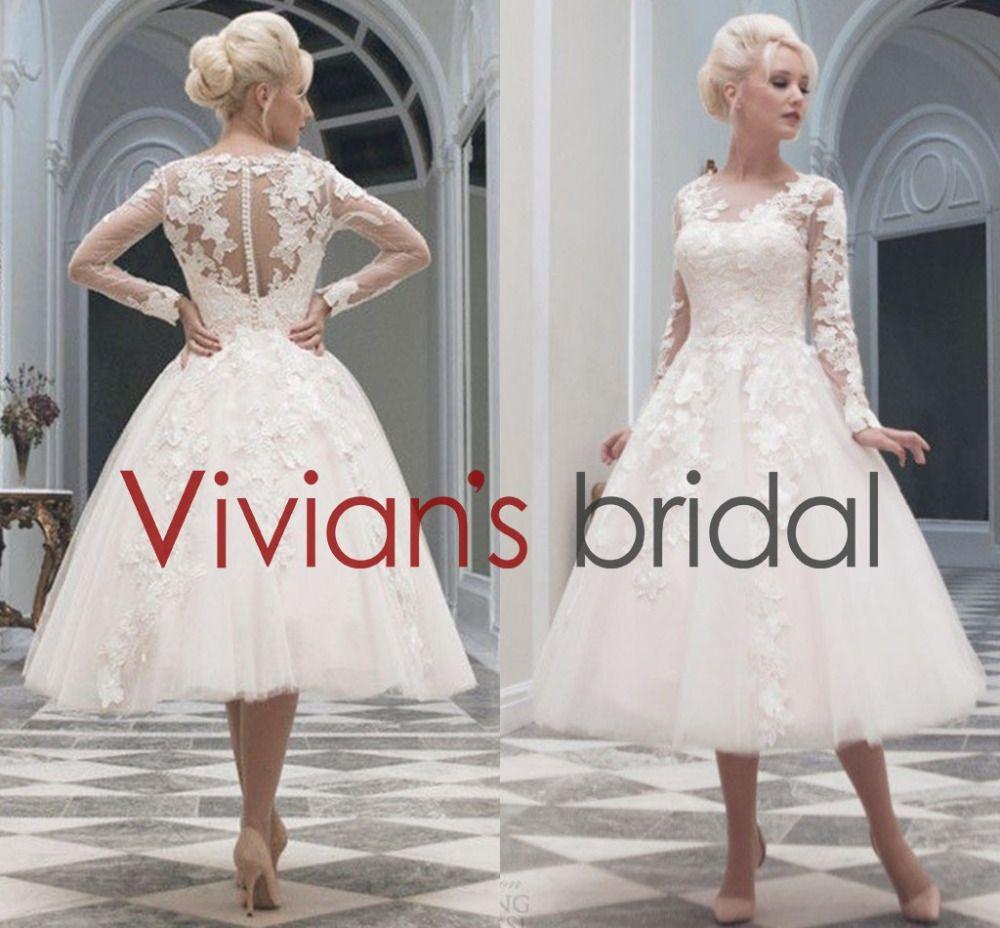 15 Long Sleeve Tea Length Wedding Dress | Tea Length Wedding Dresses ...