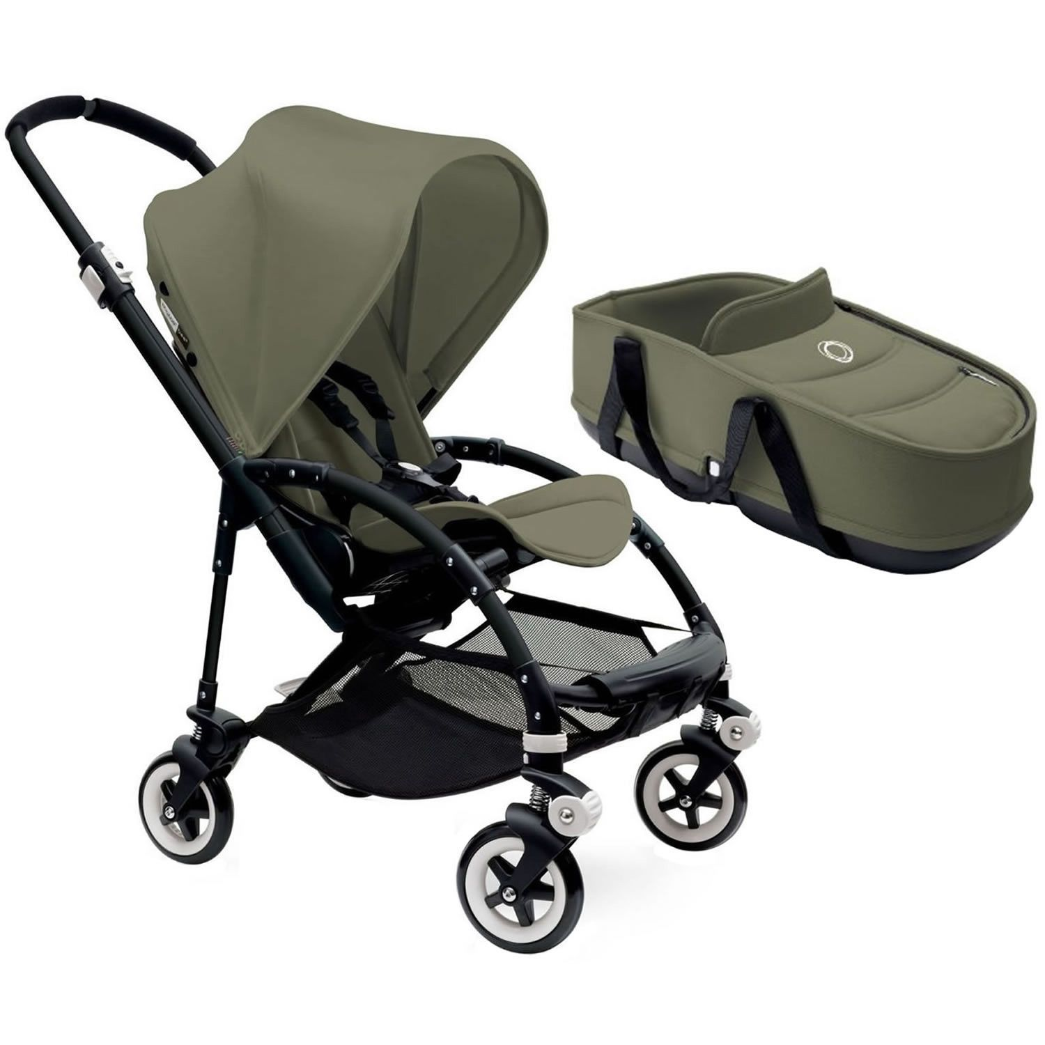 Bugaboo Bee3 Stroller With Bassinet Black Dark Khaki Dark Khaki