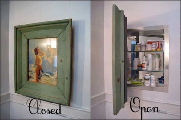 Medicine cabinet with picture cover instead of mirror ...