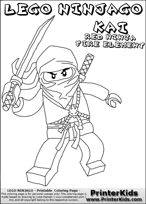ninjago coloring pages kai 2015 exo | Lego Ninjago Kai With Sword Coloring Page