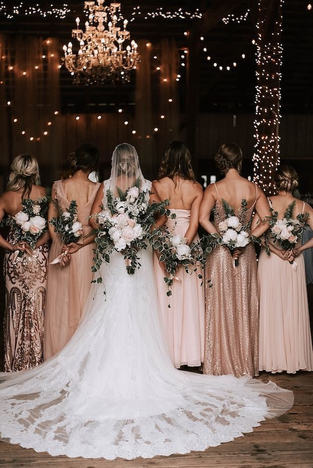 Rustic Wedding Ideas With A Touch of Glamour - Belle The Magazine -  Rustic Long Rose Gold and blush Mismatched Bridesmaid Dresses | Bohemian Bridal Party | Rustic Wedd - #Belle #cuteweddingdress #Glamour #ideas #Magazine #pandoracharms #pandorarings #Rustic #touch #wedding #weddingbride