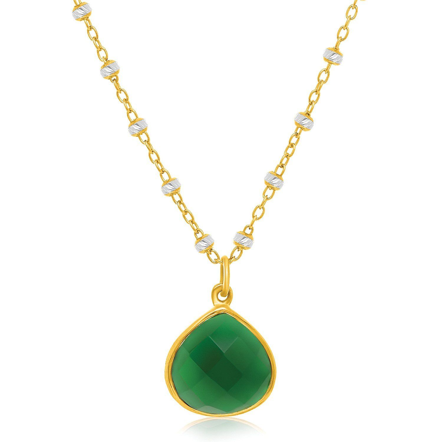 Sterling Silver Yellow Gold Plated Teardrop Pendant with a Green Onyx Accent