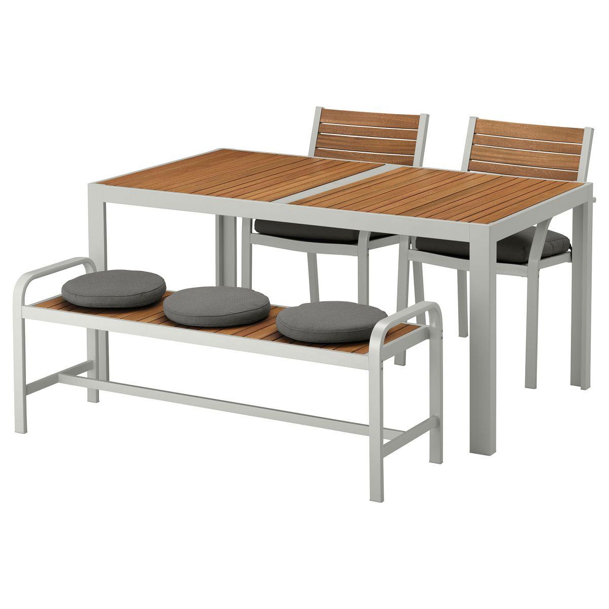 SJÄLLAND, Tisch+2 Stühle+Bank/außen, hellbraun, dunkelgrau Jetzt ...
