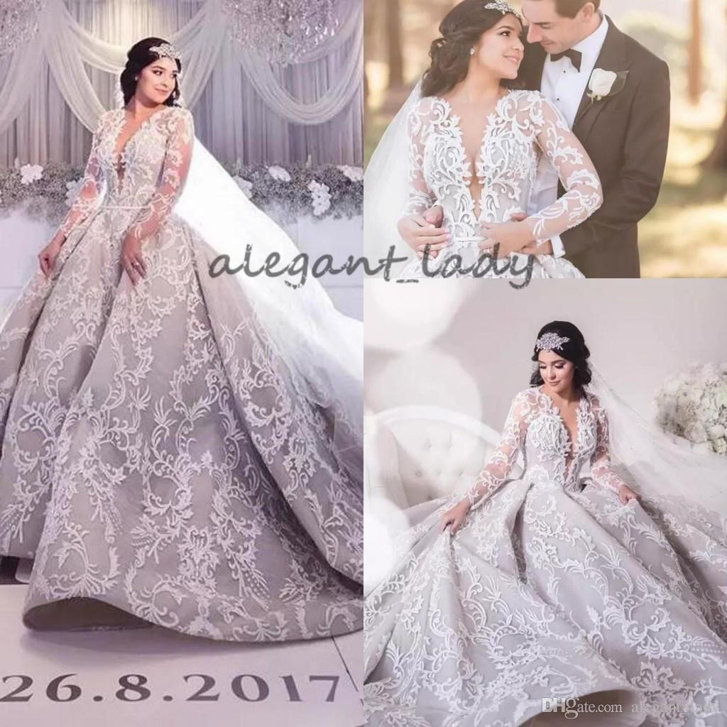 9583dce812d 2018 Luxury Lace Long Sleeve Wedding Dresses Dubai Arabic Sheer V Neck  Embroidery Puffy Cathedral Train