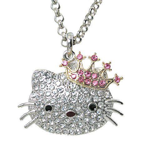 Hello Kitty pink white Sanrio necklace  silvertone
