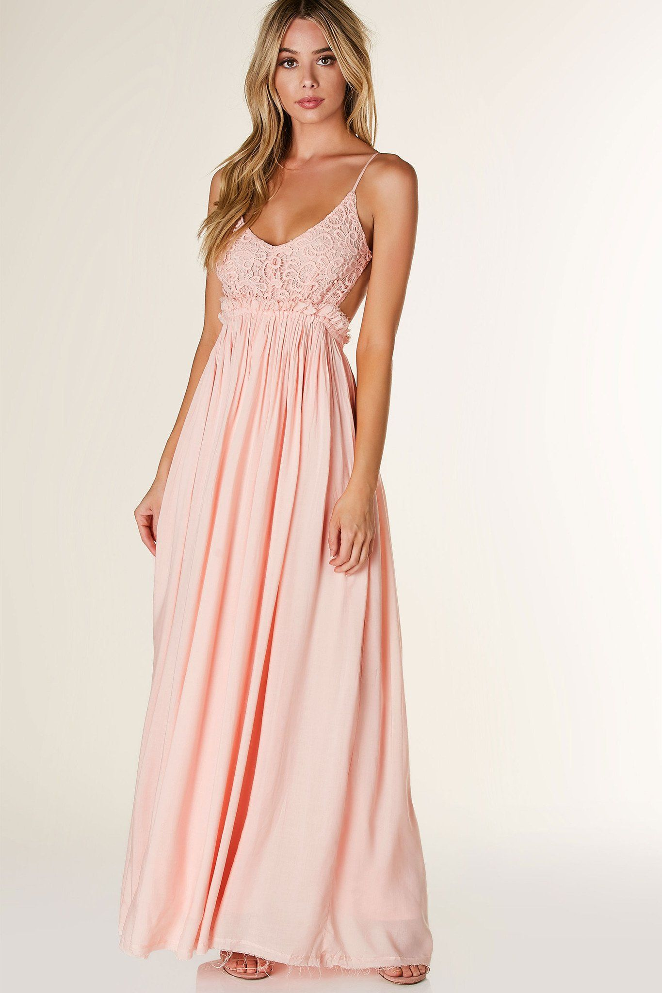 Stunning open back maxi dress with contrast crochet design ...