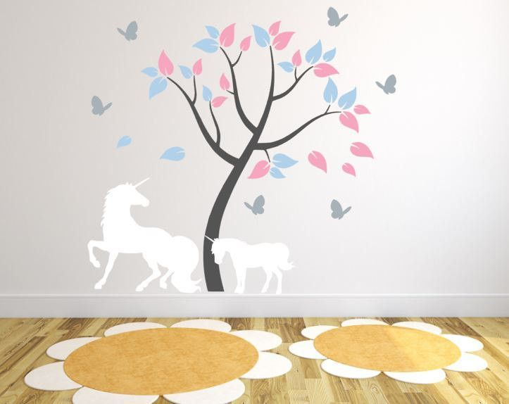 Genial Kids Room Wall Decal With Unicorns And Tree