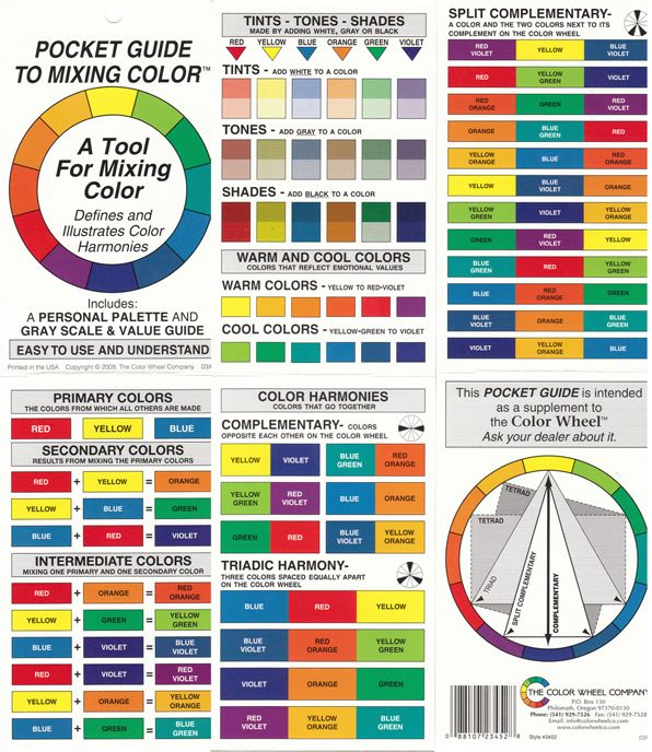 Color wheel pocket guide to mixing color artist paint for Color charts for painting walls