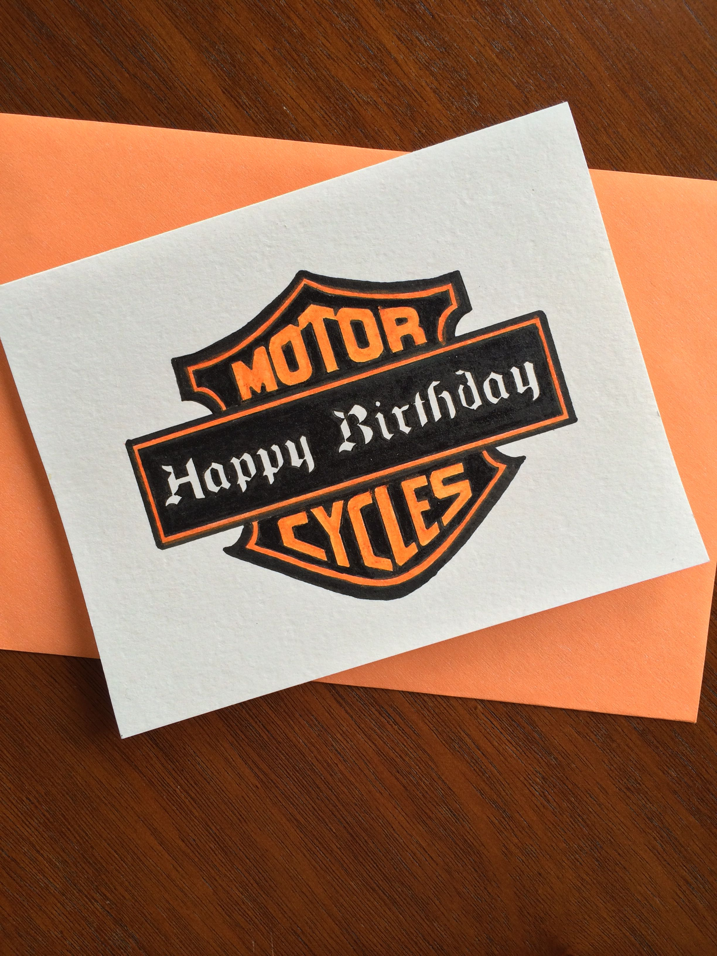 Handmade Greeting Card By Fedele Design Harley Davidson Birthday
