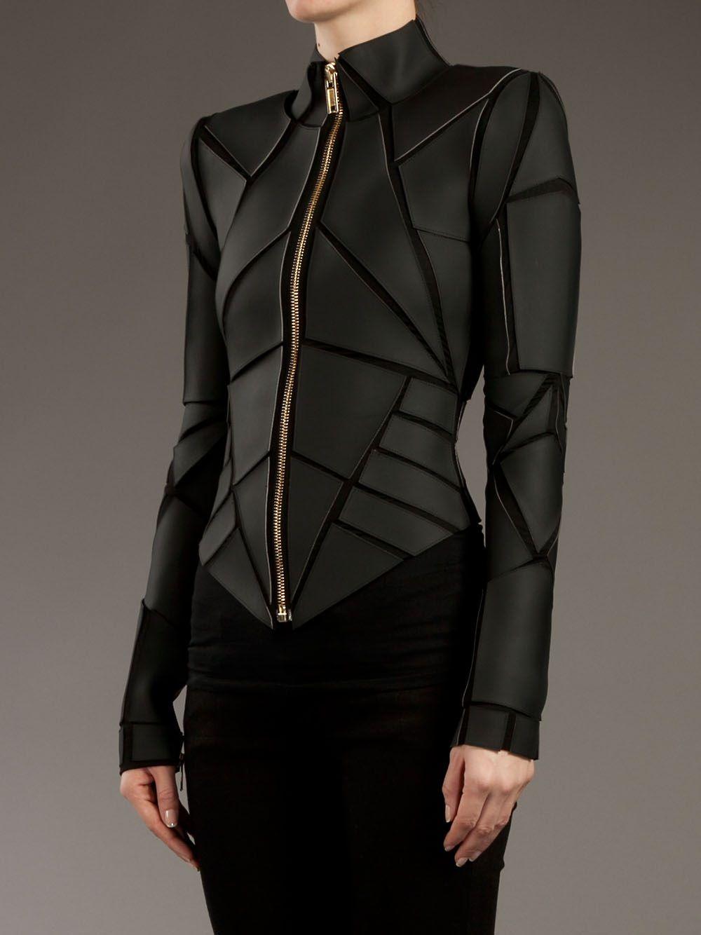 98d16441ddf212 Gareth Pugh - Geometric Panelled Leather Jacket
