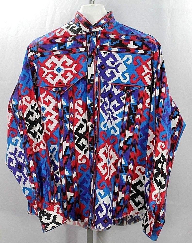 e8785857 Banjo No Collar Western Shirt LS Blue/Southwest Style XL 100% Cotton USA  #Banjo #Western