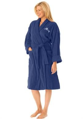 1ed3ba8501 Plus Size Personalized short terry wrap robe with free slippers Women s  plus size robes