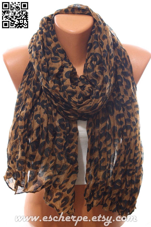 Leopard Scarf Animal Print Scarf Lightweight Crinkle by escherpe