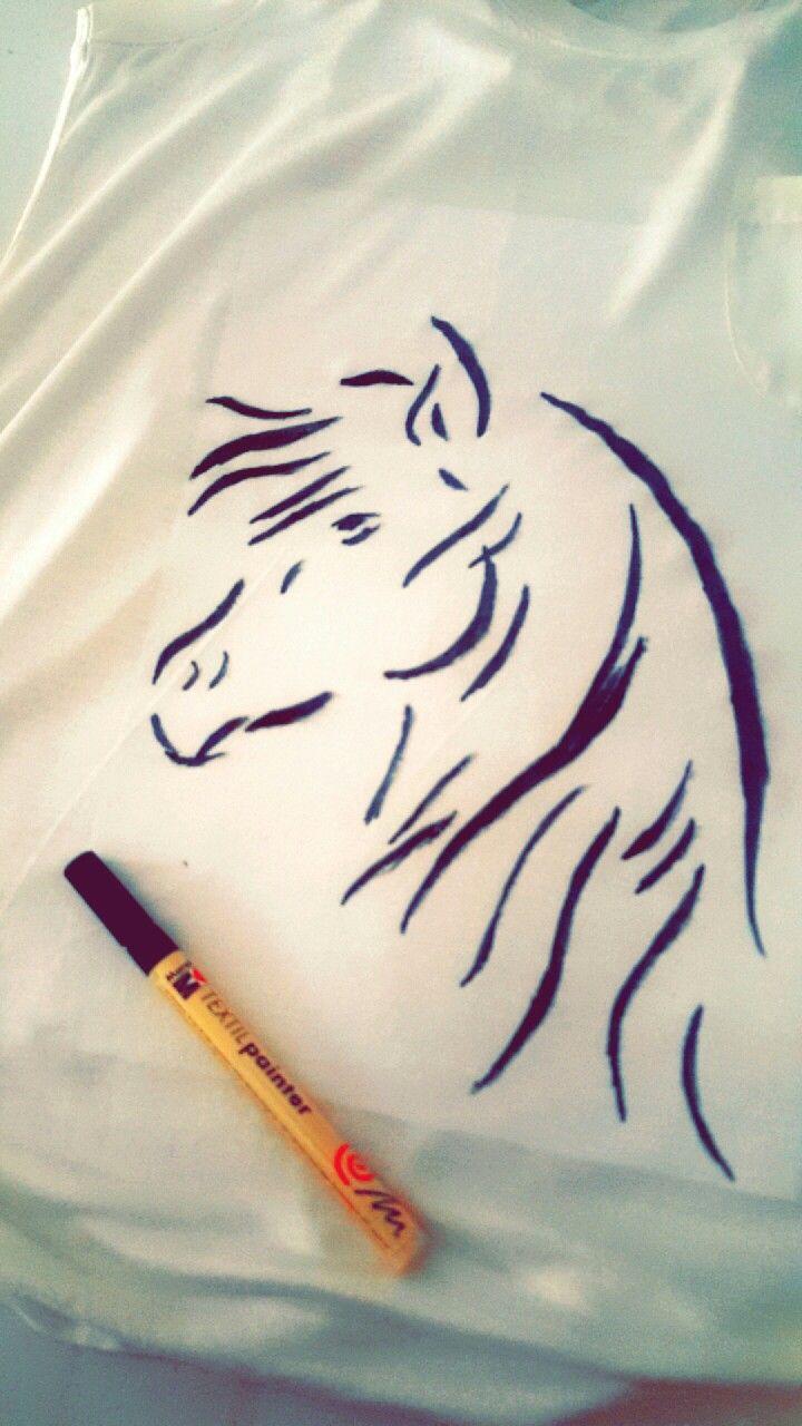 خيل رسم رسمي تيشيرت حب فروسية خربشات Embroidery Art Horse Logo Cute Profile Pictures