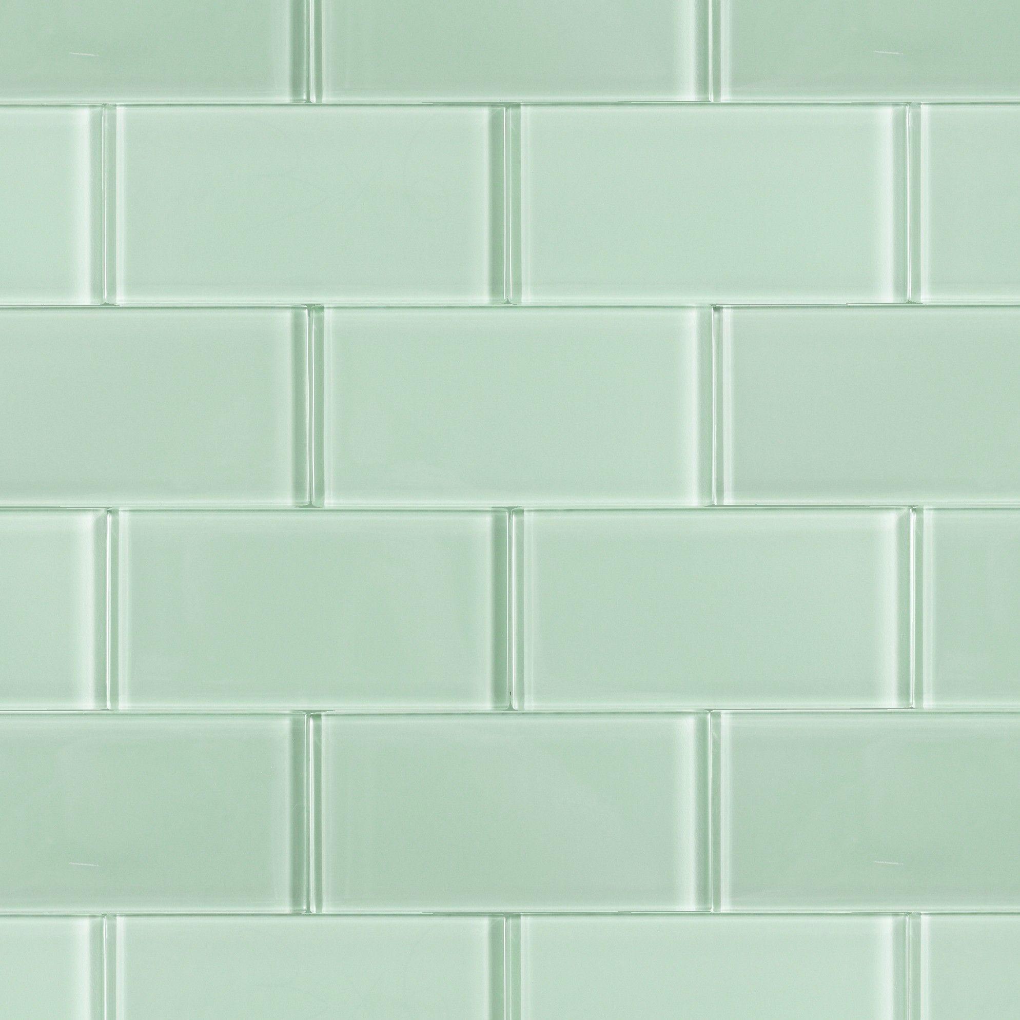 Kitchen backsplash glass tile green