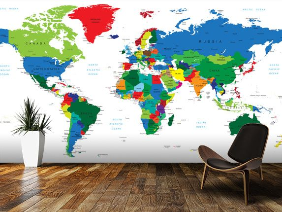 Bright World Map wall mural room setting Basement