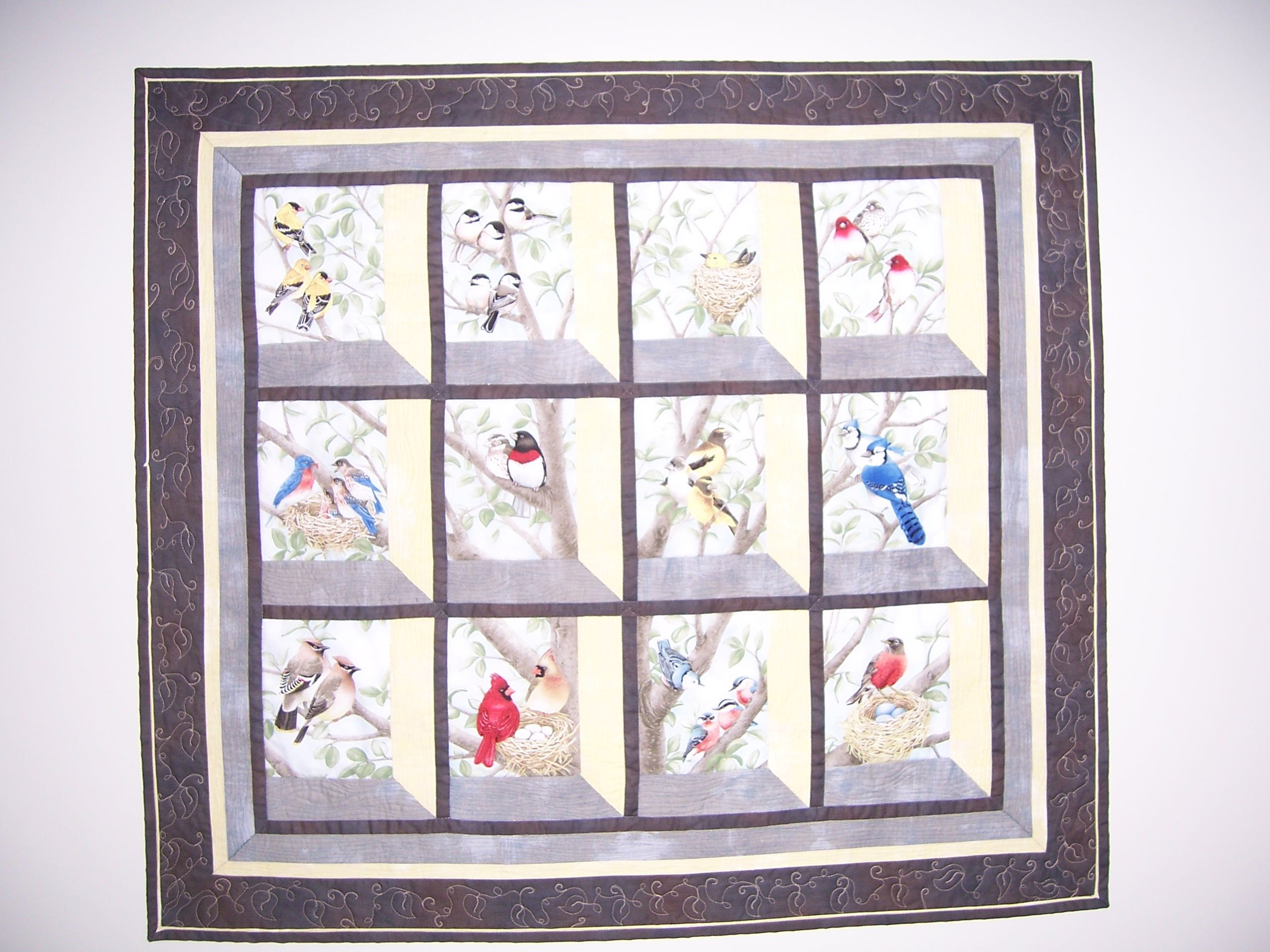 Attic windows wall hanging from beautiful birds in window for Window quilts