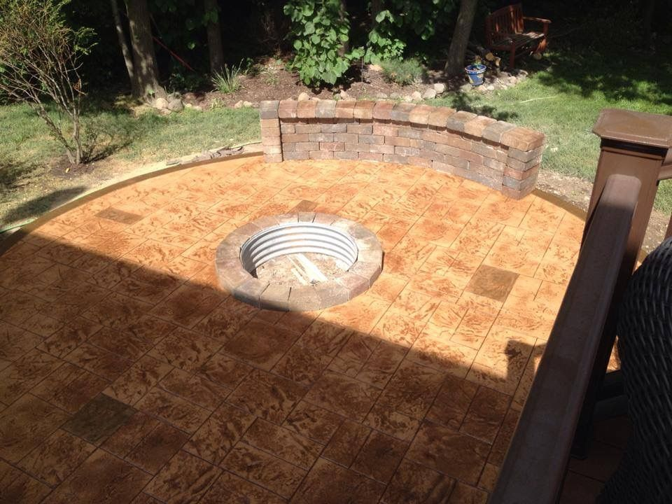 stamped concrete patio with fire pitrochester mi stamped